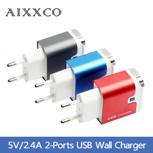 Power plug Aluminum 5V 2A Dual 2 port USB EU Adapter Fast Wall Charger For iPhone 6 puls iPad Pro SAMSUNG HTC Xiaomi Wholesale
