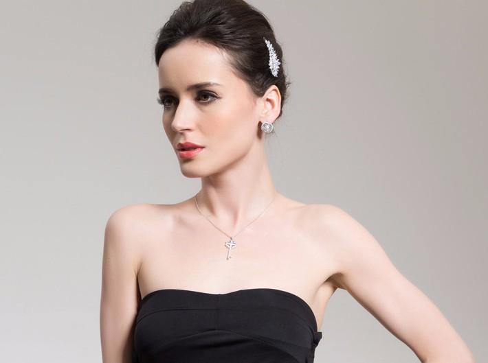 Luxury Dazzling AAA+ Swiss Cubic Zirconia Women's Key Pendant necklaces Fashion Bijoux Femme Teen Girls Gifts 2015 New Design 7