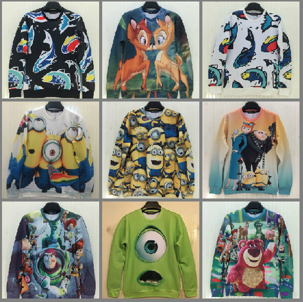 2014 Fashion Women/Men printed Pullovers 3D sweatshirt cartoon animals sweaters casual Hoodies top - Chinaboy store