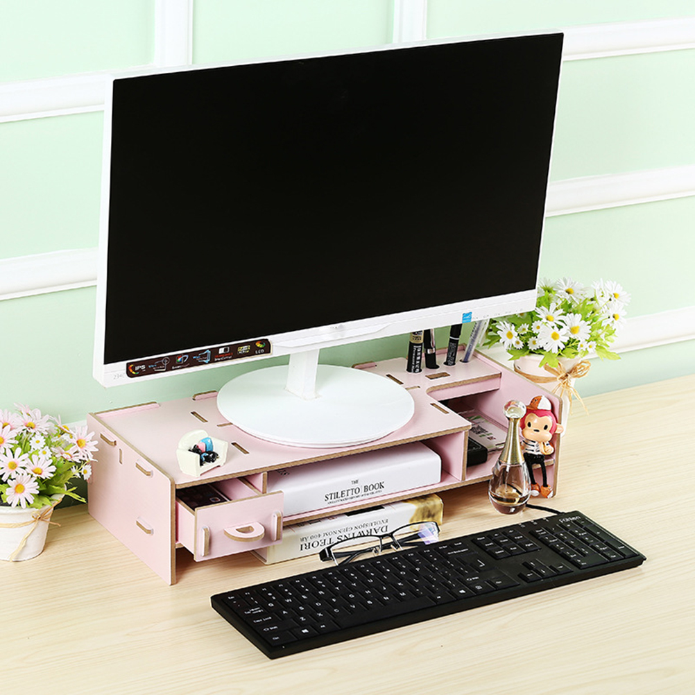 Eco-Friendly Decorative Wooden Monitor Riser Stand 2-Tier Desktop Organizer Table Stand Office Desktop Organizer Storage(China (Mainland))