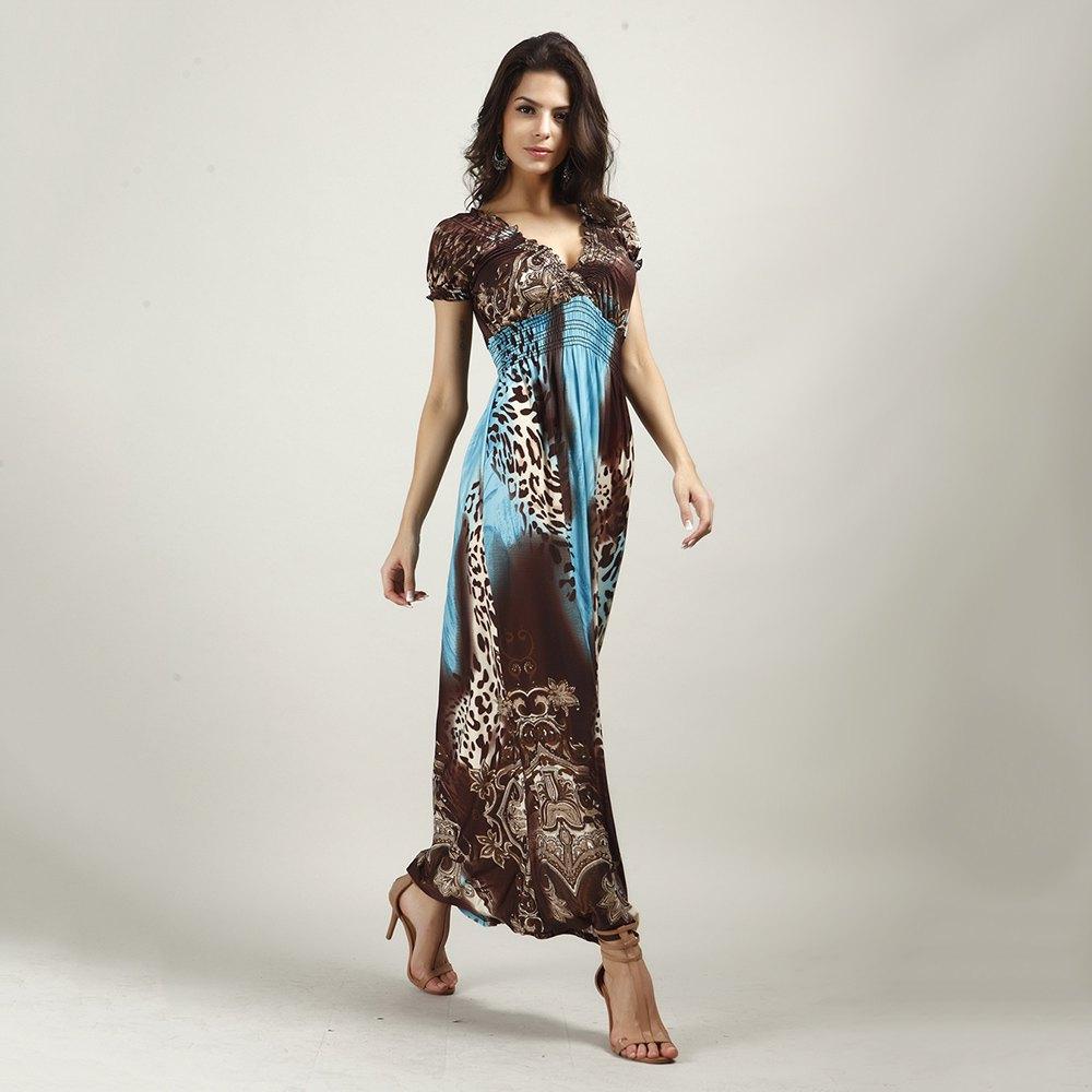 Wholesale Bohemian V-Neck Short Sleeve Leopard Print Dress For Women(China (Mainland))