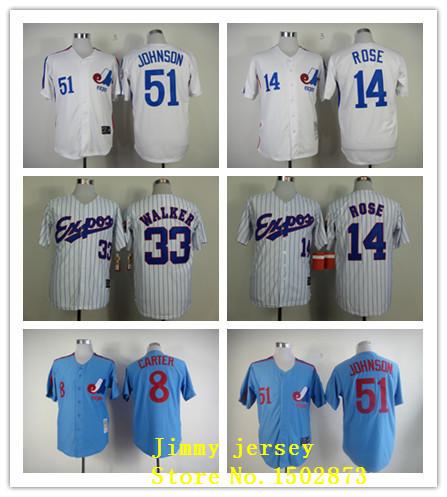 Montreal Expos Throwback Jerseys, 8 Gary Carter 14 Pete Rose 33  Larry Walker 51 Randy Johnson Pinstipe White Blue<br><br>Aliexpress