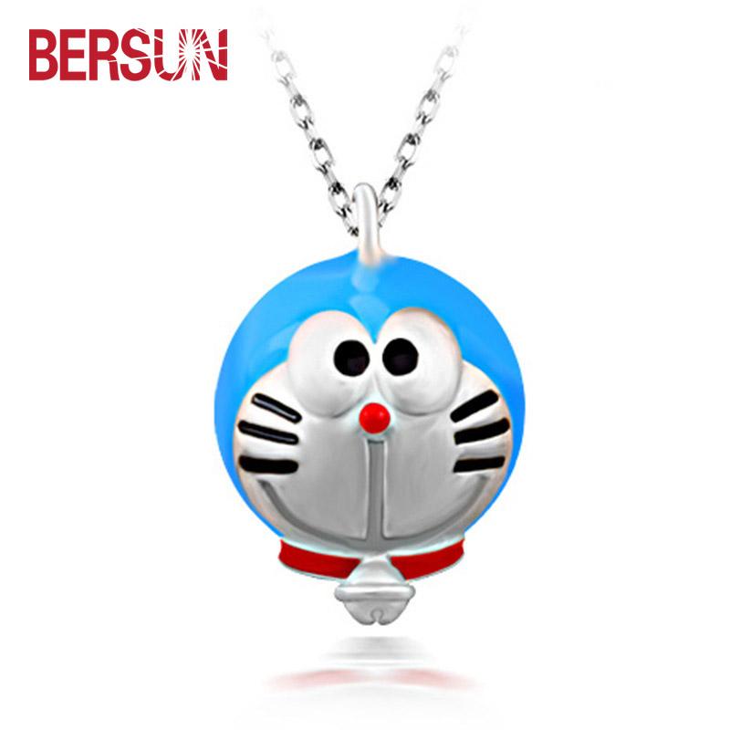women jewelry Cartoon Doraemon Viking pendant silver plated pendant necklace creative Doraemon charm child jewelry wholesale(China (Mainland))