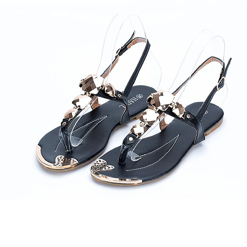 Black Pink And White 3 Colors Women T-Strap Sandals Bling Rhinestone Crystal Buckle Flats Shoes  Summer Style Ladies  Size 36-41<br><br>Aliexpress