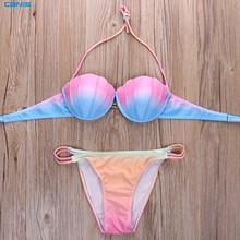 2016 new Swimwear women Brazilian Bikini SHELL Bandage Swimsuit Padded Swimwear Bikini Push Up BIKINI set
