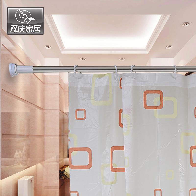 retractable shower curtain rod straight bathroom curtain rod bathroom retractable pole hole-digging bathroom rod shower curtain(China (Mainland))