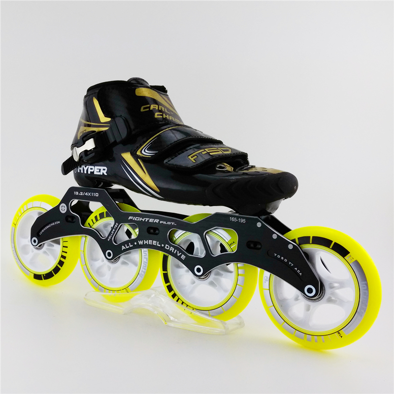 Hyper Professional Glass Fiber Speed Skating Shoes Roller Racing Shoes Skates Four-Wheel Patins Rollerblading Roller Skate<br>