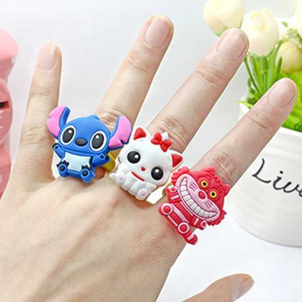 New 2015 Silicone Minnie Mickey Cartoon Animation Rings Trendy Baby Girl Children'S Jewelry Toy Party Interactive Gift(China (Mainland))