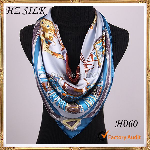 paris brand 100% pure silk Islamic horses scarves free shipping(China (Mainland))