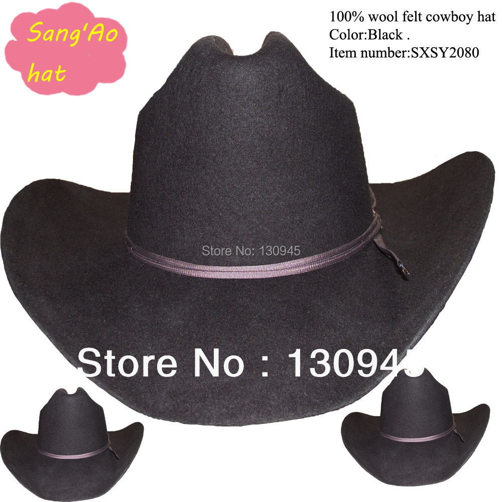 special wholesale black cowboy hat felt for men or boys ,kids ,chidren100% wool wear cool season for equitation or riding(China (Mainland))