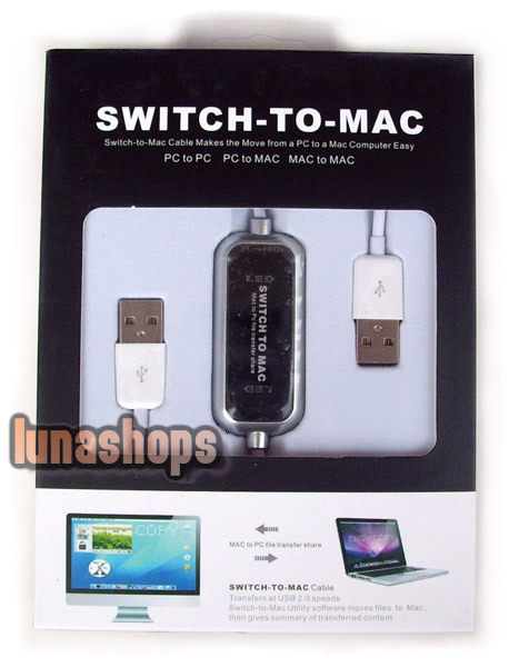 Swith To MAC Adapter MAC To PC File Transfer Share USB Data Male To Male Cable(China (Mainland))