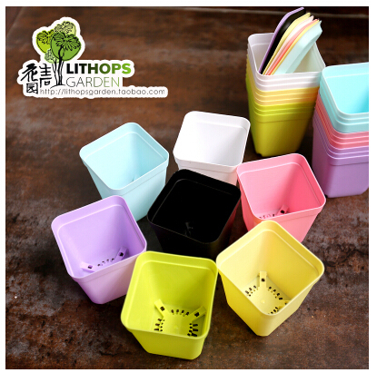 The new small plastic pots for flowers, gardening plastic pots, 7cm * 8cm, 7 colors mixed Send(China (Mainland))