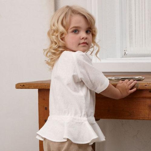 2015 Girls summer short sleeved linen blend pullover shirt,kids solid color blouse,white/navy,children clothing