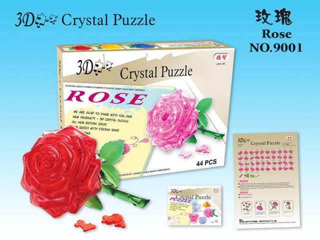 Quebra-cabeça 3D Cristal-Rosas Em Vaso-Novo em folha 30897