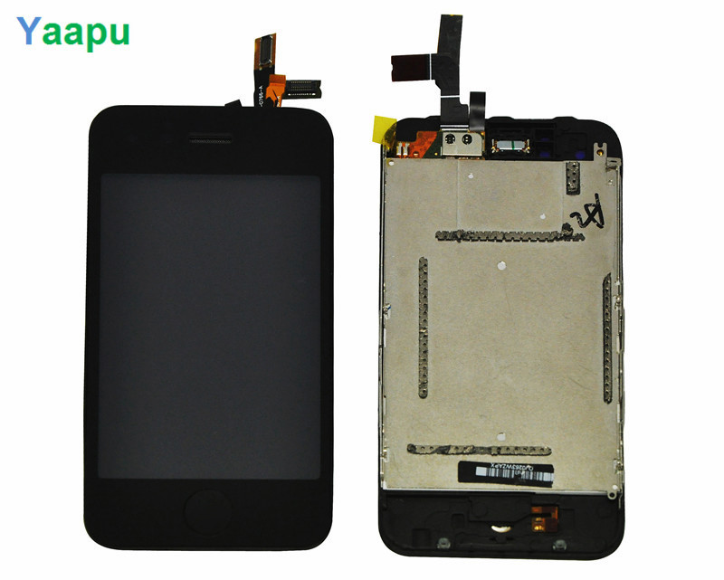 black 100% Guarantee New lcd For iphone 3G LCD Touch Screen Digitizer Assembly with home key frame+tools(China (Mainland))