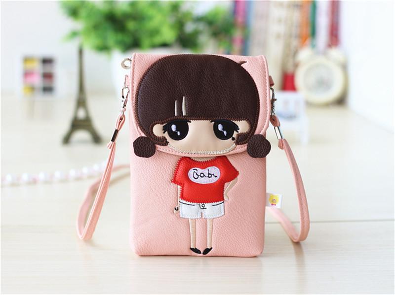 Новое поступление леди девочка мультфильм сотовый телефон сумка женщины мини модный портмоне PU сумка ключ макияж сумка