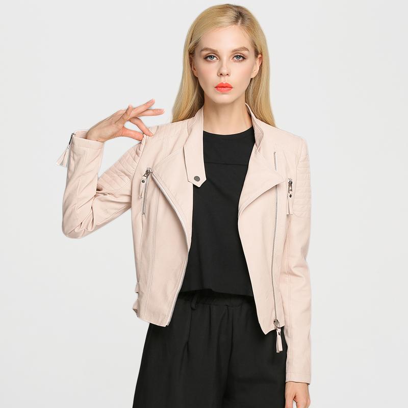 Designer Brand 2016 New Women Faux Leather Jacket Quality PU Coat 15p5006