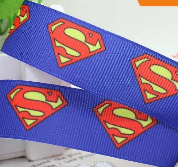 "50yards/lot 7/8inch 22mm blue ""superman"" Printed Cartoon Style grosgrain ribbon(China (Mainland))"
