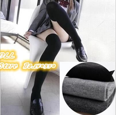 Over The Knee Socks Thigh High Cotton Sock Thinner 3 Colors Black, White, Grey ,Bluefor Selection free shipping(China (Mainland))