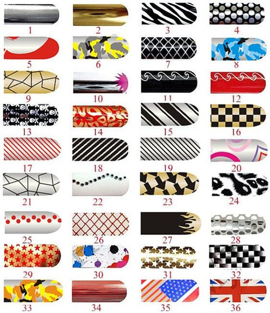 FREESHIPPING Wholesale Nail Foils Sticker set/36sheet Nail Art Stick  Nail Patch Art Product 008