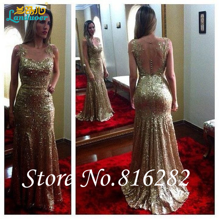 Open Back Sexy Gold Sequined 2015 Evening Gowns Sleeveless Applique Mermaid Party Dresses