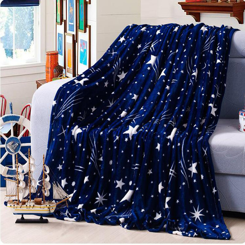 High Density Super Soft Flannel Blanket to on for the sofa bed textile cute plush wool fluffy blue green stars boys blanket(China (Mainland))
