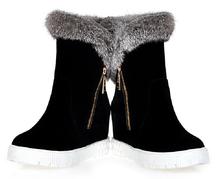 Alta Calidad de LA PU + Nubuck Leather Boots Lentejuelas Tacones Cuadrados otoño Invierno Botines Sexy Botas de Piel de Nieve Zapatos de Mujer H208(China (Mainland))