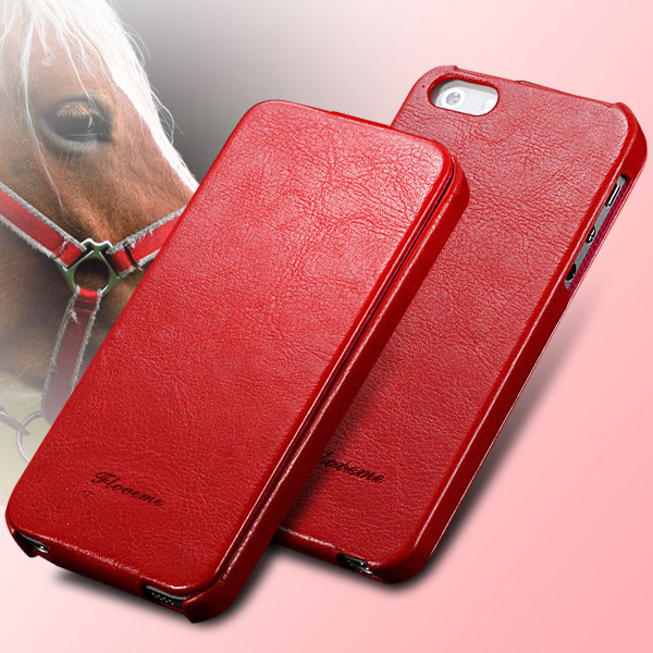 5 5s Crazy horse Grain Luxury Flip Case for Iphone 5 5S PU Leather Retro Cover Bag Fashion Logo For Iphone5 HLC0027(China (Mainland))