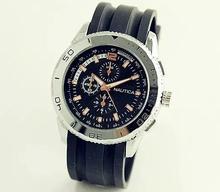 10 unids/lote nauticaing Casual Watch Women Watch vestido 2015 hombres del cuarzo señora de silicona relojes negro reloj de pulsera deportivo watch-001