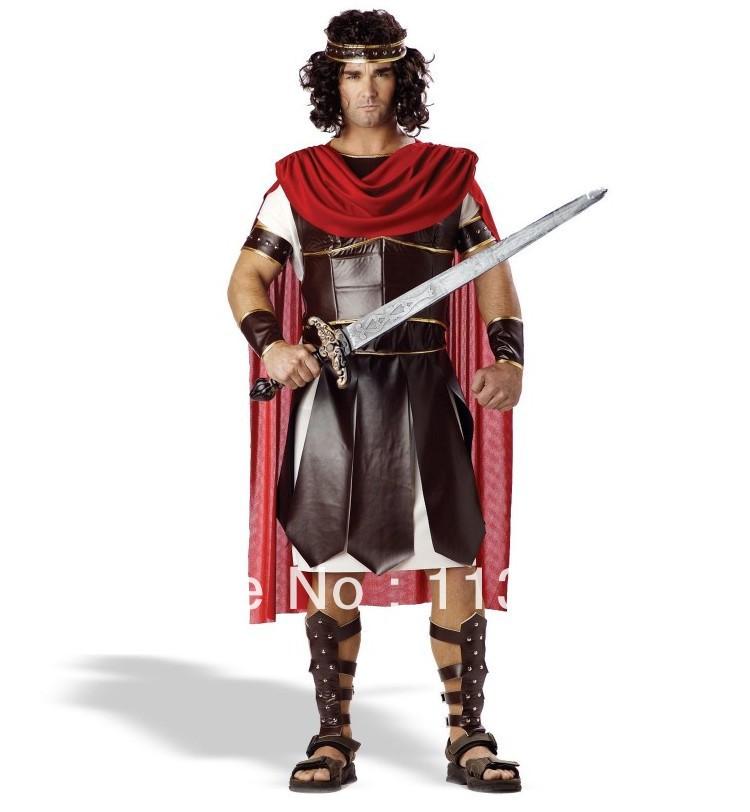 free shipping,2013 Men's Cosply Uniforms Hercules Adult Roman Greek Gladiator Warrior Tunic Toga Halloween Costume(China (Mainland))