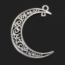Penney 50pcs 39*30mm Antique Silver Plated Moon Charms Metal Vintage Jewelry Findings(China (Mainland))