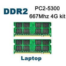 DDR2 667Mhz 4GB (Kit of 2,2X 2GB) PC2-5300 KVR667D2S5/2G Brand New SODIMM Memory Ram memoria ram For  Laptop computer
