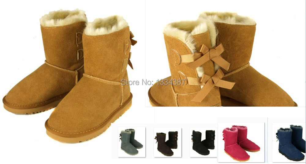 wholesale! New Fashion Australia classic tall winter boots real leather Bailey Bowknot women's 3280 bailey bow snow boots shoes(China (Mainland))