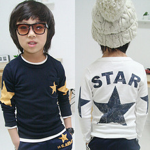 New 2016 spring and autumn children t shirts, hot sale boy clothes, star pattern long-sleeve T-shirt