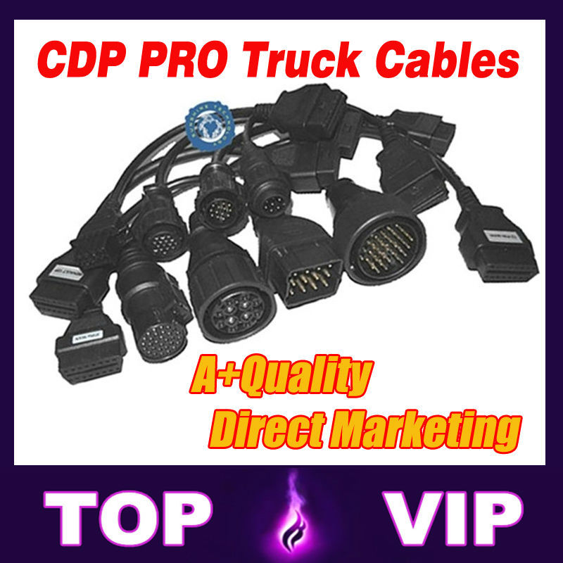 Lowest price Truck Cables for Autocom CDP Truck full sets 8 piece truck cables Diagnostic Cables with Free Shipping(China (Mainland))