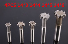 Buy Free delivery 4PCS 14*3*4*5*6 high speed steel Straight shank T groove milling cutter T type Straight shank milling cutter for $23.58 in AliExpress store