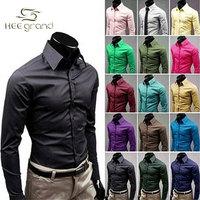 2015 New Arrival  Korean Style Men's Long Sleeve Shirts Candy Color Shirt Seventeen Colors Plus Size M-XXXL MCL108