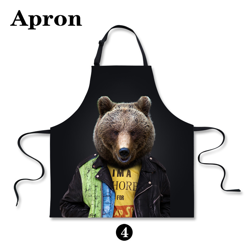 Kawaii Anti-oil Women Kitchen Wearing Apron Cotton Flirty Chef Cooking Aprons Black Animal Bear Cat Printing Dinner Party Apron(China (Mainland))