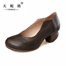 2015  Handmade Shoes Pumps Woman Low Heels Round Toe Slip on Genuine Leather Simple Concise Shoes