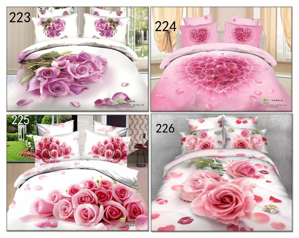 Cotton Bedclothes Sets Home Textile Bedding Set White Pink Rose Bed Linens 3D 4Pcs Duvet Cover Quilt Cover Bed Sheets Pillowcase(China (Mainland))