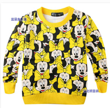 2015 Spring New Arrival Baby Girls boys Minnie mickey terry sweater cartoon long sleeve T-shirt jerseys baby kids clothes(China (Mainland))