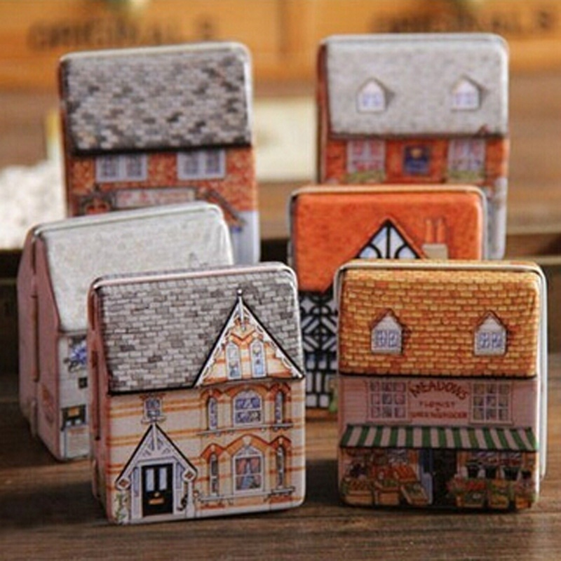 1PCS Mini Empty Tinplate Dream House Tin Metal Container Small Storage Box Kids Gift Free Shipping(China (Mainland))