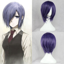 Free Shipping!! Tokyo Ghoul Touka kirishima Cosplay Wig Blue purple Short Cheap Synthetic Hair Anime Wigs(China (Mainland))