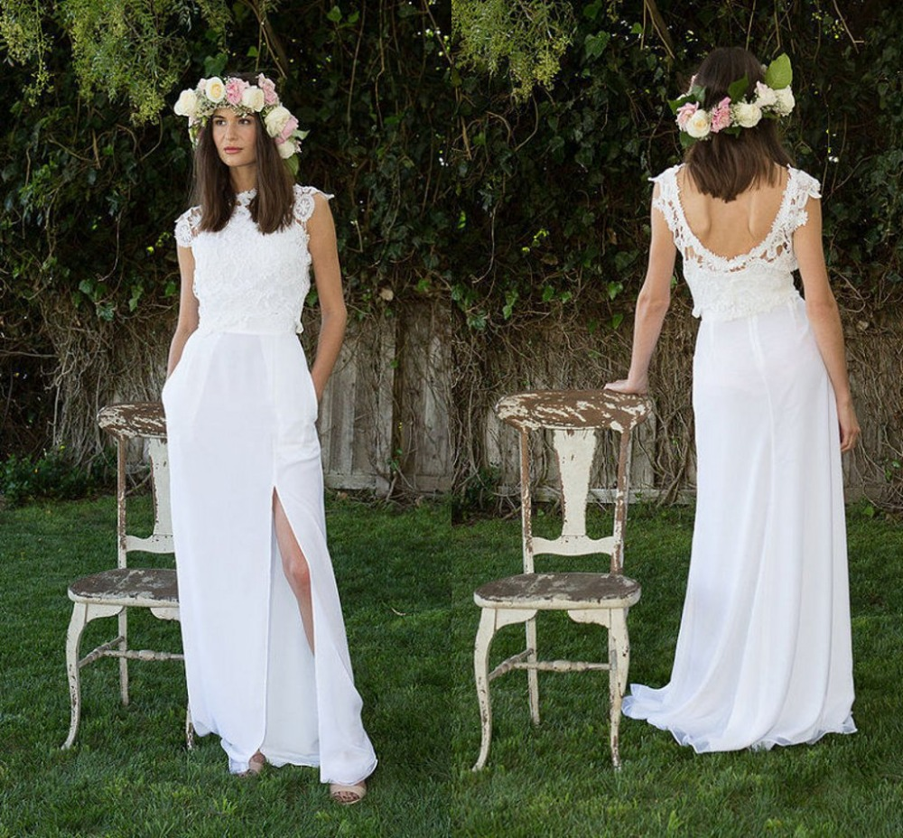 Boho Wedding Dress Sleeves : Lace boho wedding dress cap sleeves side split beach gowns