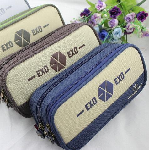 LZ large capacity stationery bags EXO letter canvas pencil case boy student double zipper pen bag office &amp; school supplier<br><br>Aliexpress