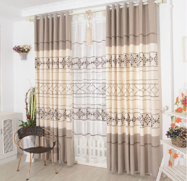 2014 new arrival brief modern curtains for windows of living room or bedroom coffee color beautiful curtain blind home textile(China (Mainland))