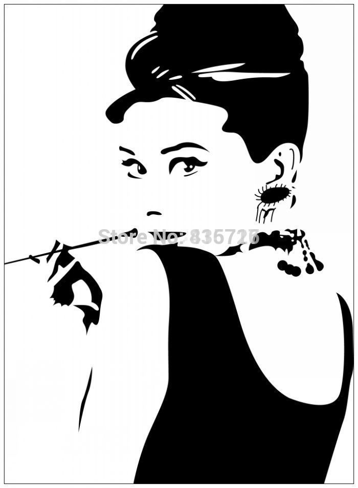 Large Size Hot Removable Bedroom Wall Stickers Audrey Hepburn With Pipe Sketch Home Decor Sticker Modern Living Room Accessories(China (Mainland))