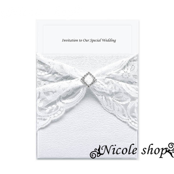 Wedding Invitation Card White Business Meeting Crystal Wedding Invitations Divine Grace Diamond Luxury Romantic Bud Silk(China (Mainland))