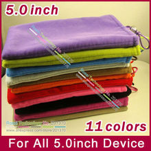 5.0'' 5.0inch Universal flannel cloth pouch bag case for Samsung Galaxy SIII S4 Nexus HTC, All 5.0inch mobile cell phone 10pcs(China (Mainland))