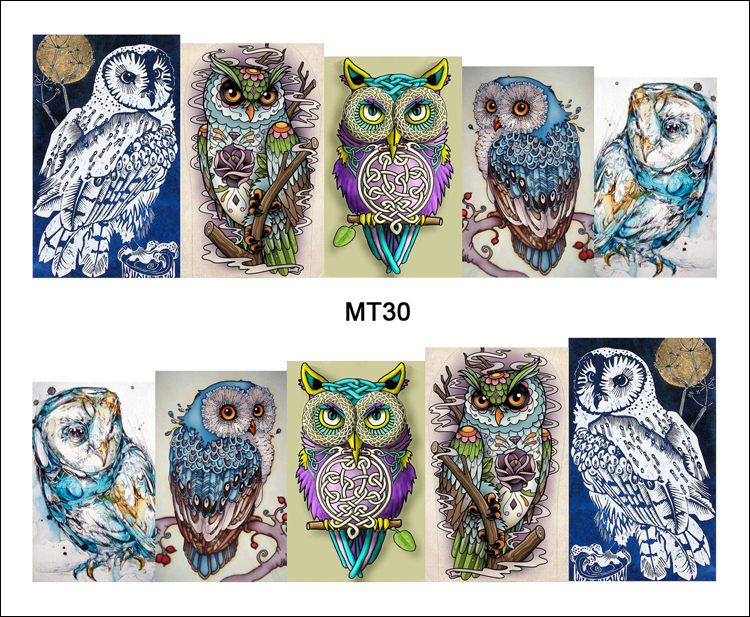 1 Sheet Nail MT30 Full Cover Owl On Tree Cartoon Cute Nail Art Water Transfer Sticker Decal For Nail Art Tattoo DIY Nail Tool(China (Mainland))